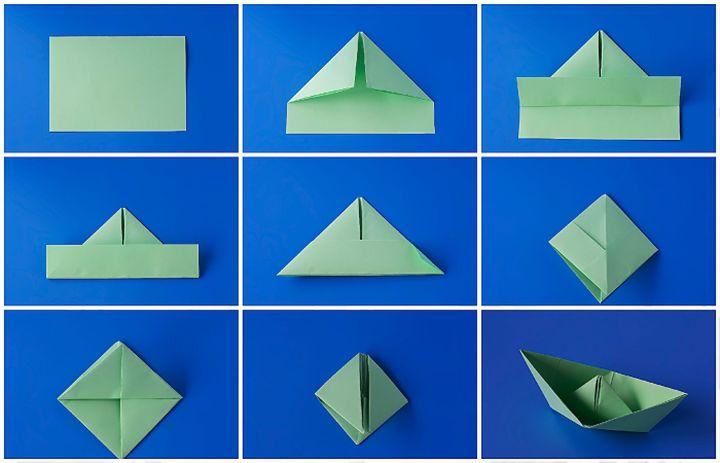Классическая сборка оригами-кораблика