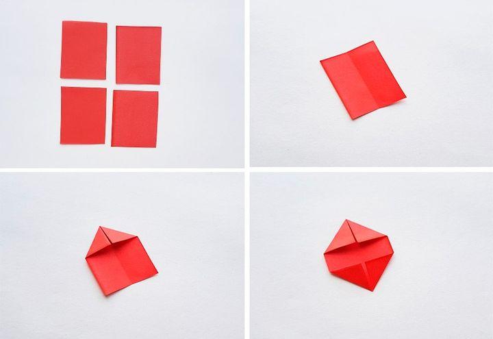 Схема сборки оригами-пуансеттии