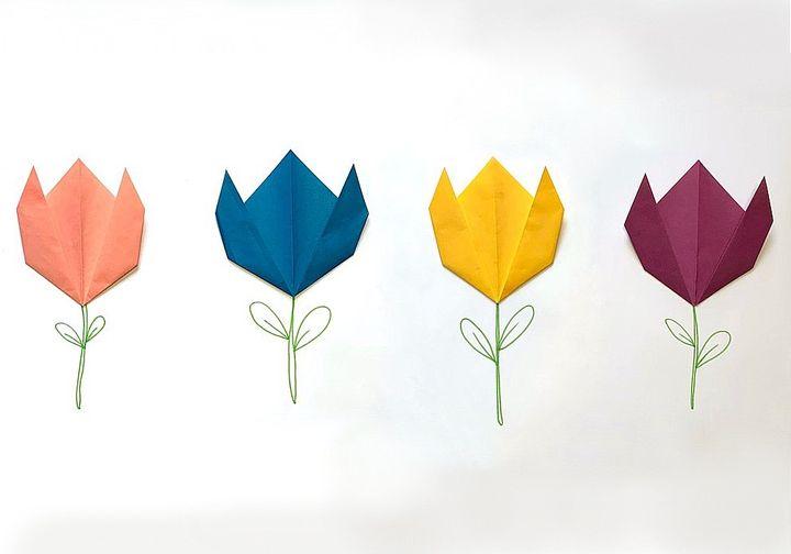 Оригами-тюльпан