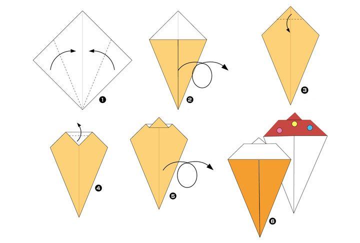 Схема сборки оригами-мороженого