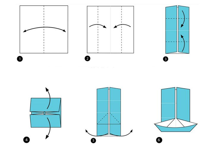 Схема сборки оригами-мельницы