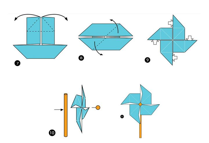 Схема сборки оригами-вертушки