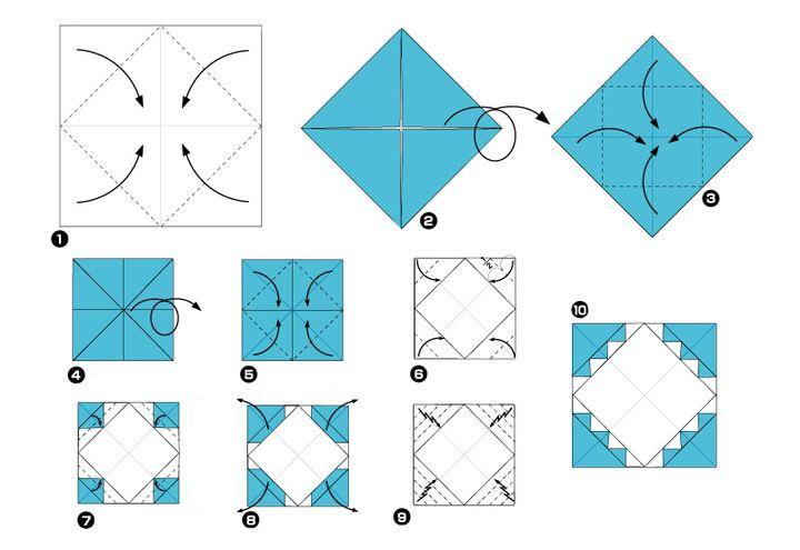 Этапы сборки фоторамки-оригами