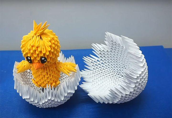 Цыпленок-оригами в скорлупе