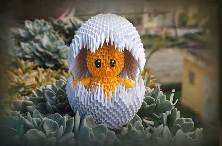 """Оригами """"цыплёнок в скорлупе"""""""