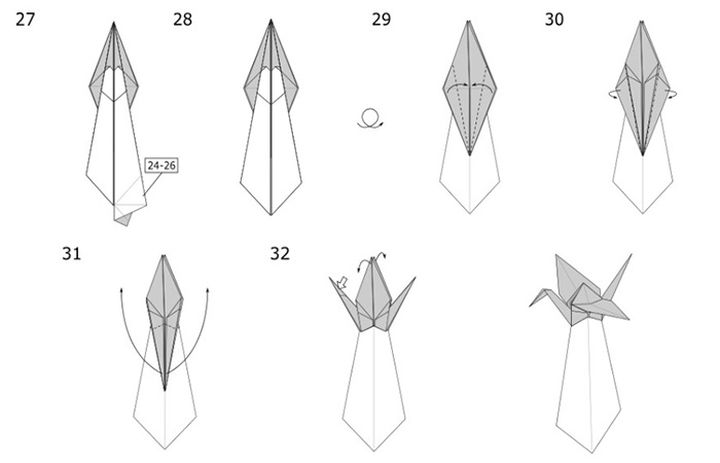 Сборка журавлика-оригами