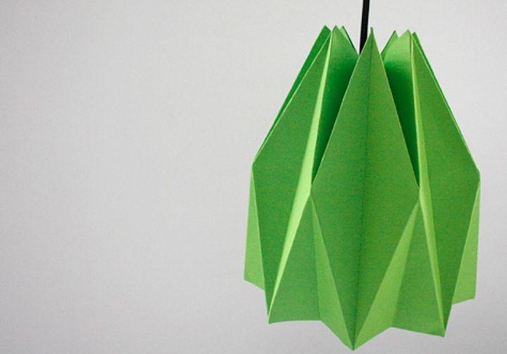 Зеленый оригами-абажур