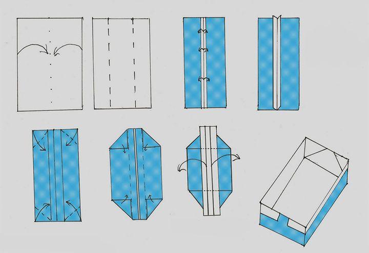 Схема сборки простой коробочки-оригами