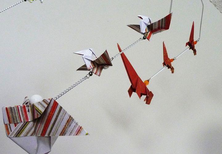 Декор для комнаты с оригами-динозаврами