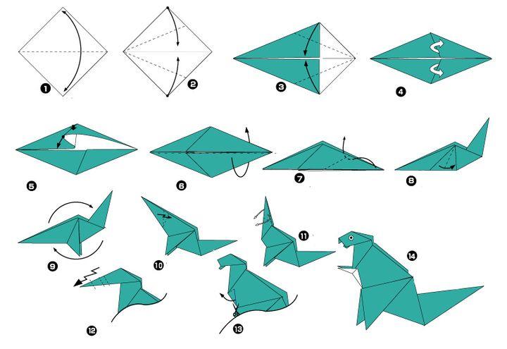 Сборка оригами-динозавра