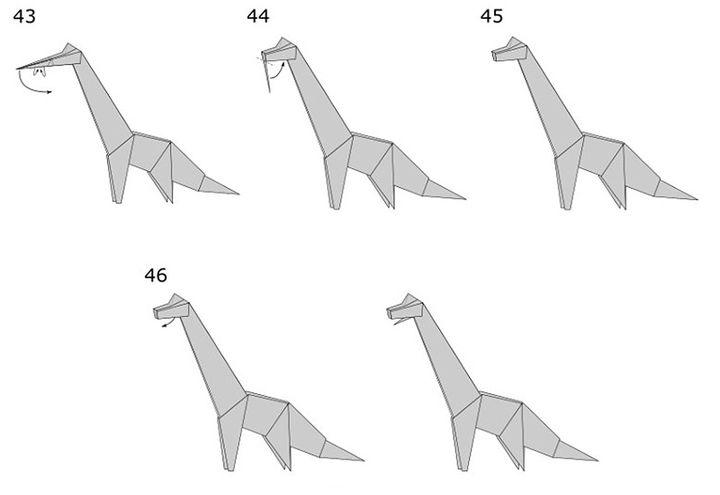 Схема сборки оригами-динозавра