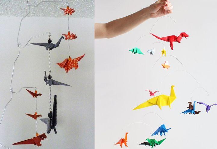 Мобиль с динозаврами-оригами