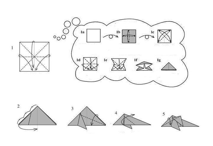 Схема изготовления оригами-дельфина