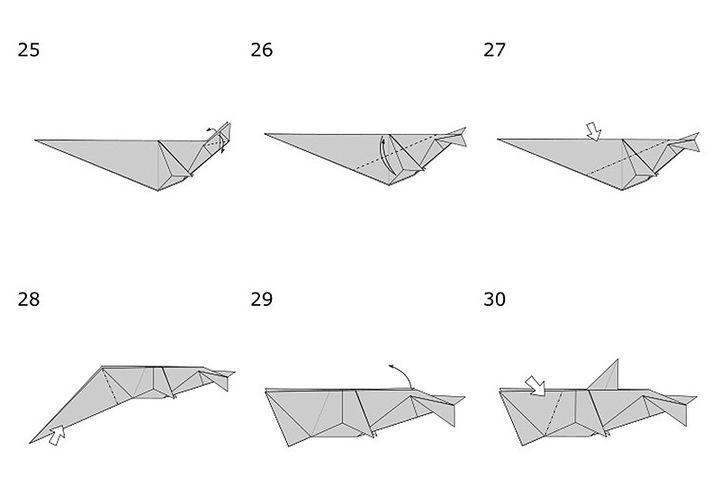 Этапы сборки дельфина-оригами