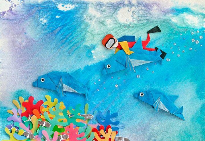 Аппликация с дельфинами-оригами