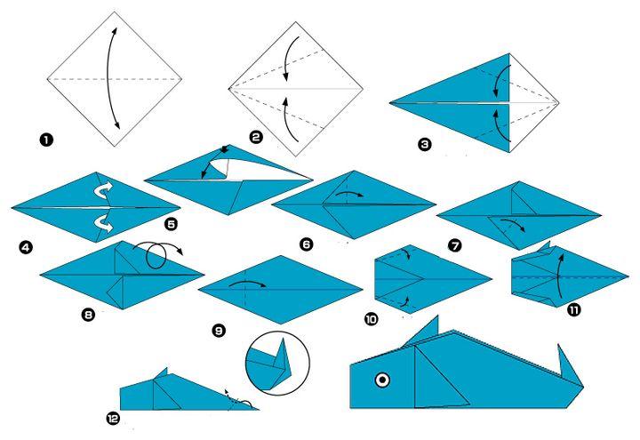 Сборка дельфина-оригами