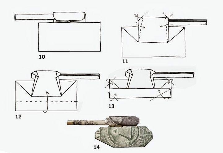 Схема сборки танка из купюры
