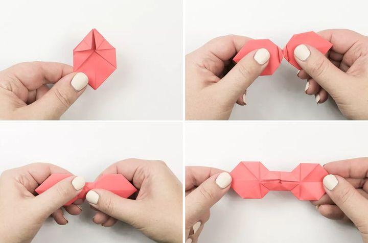 Поэтапная сборка банта-галстука в технике оригами
