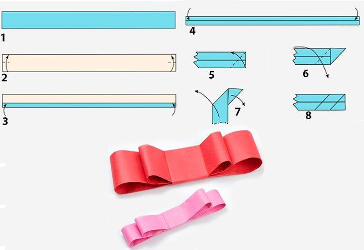 Схема изготовления бантика из ленты «васи»