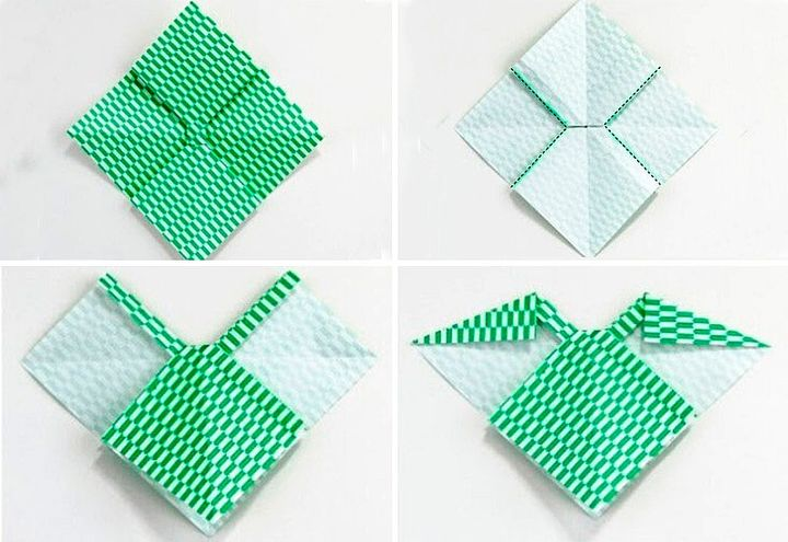 Поэтапная сборка пышного оригами-банта