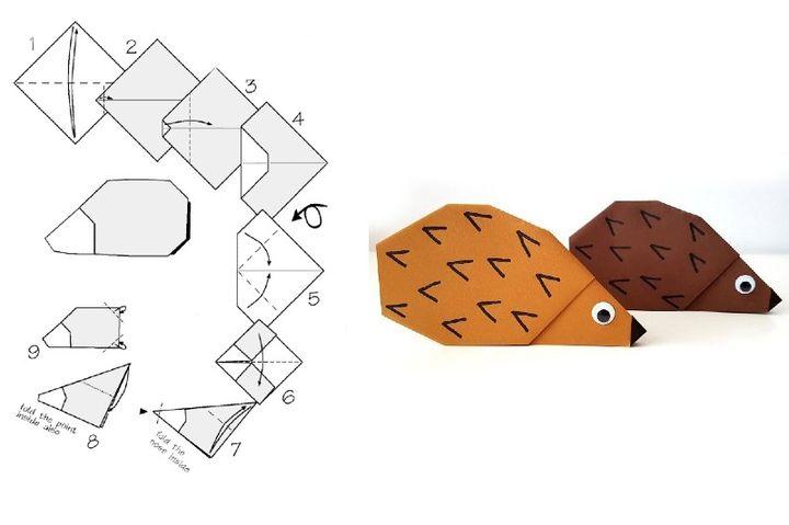 Пошаговая инструкция по сборке простой модели оригами-ежика